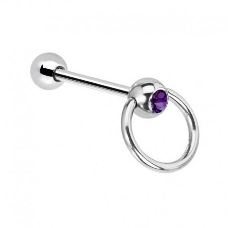 Piercing Langue Acier esclave Cristal violet