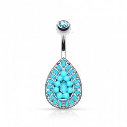 Piercing Nombril Acier Vintage goutte Perles et Cristal turquoises