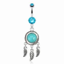 Piercing Nombril attrape-rêves turquoise et Cristaux turquoises