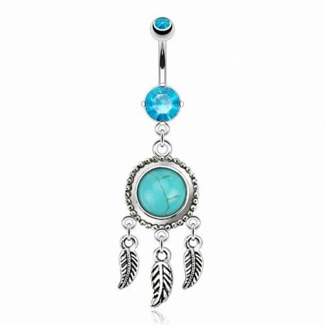 Piercing Nombril Pendentif attrape-rêves turquoise et Cristaux turquoises