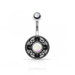 Piercing Nombril Acier Opale blanche Cristaux noirs et bille Cristal blanc