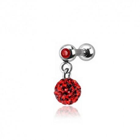 Piercing Oreille 1,2mm Acier Cristal rouge et boule Cristaux rouges