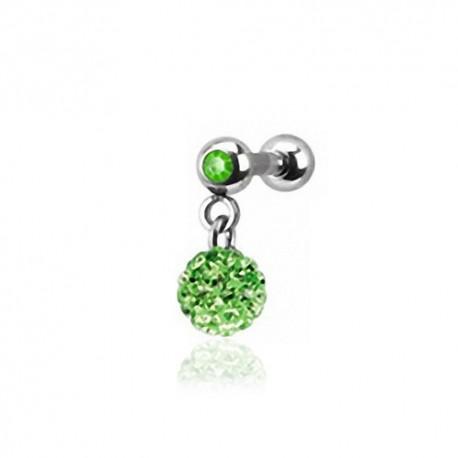 Piercing Oreille 1,2mm Acier Cristal vert et boule Cristaux verts
