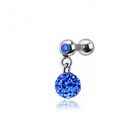 Piercing Oreille 1,2mm Acier Cristal bleu et boule Cristaux bleus