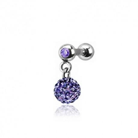 Piercing Oreille 1,2mm Acier Cristal violet et boule Cristaux violets