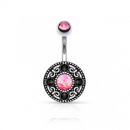 Piercing Nombril Acier Opale rose Cristaux noirs et bille Cristal fushia