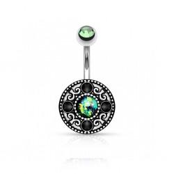 Piercing Nombril Acier Opale verte Cristaux noirs et bille Cristal vert
