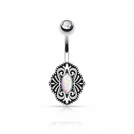 Piercing Nombril Acier Opale blanche ovale et bille Cristal blanc
