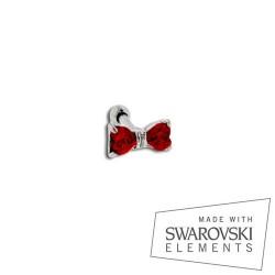 Piercing Tragus Acier noeud de Cristaux de Swarovski rouges