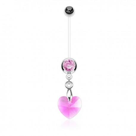 Piercing Nombril Grossesse Flexible pendentif coeur de Cristal rose