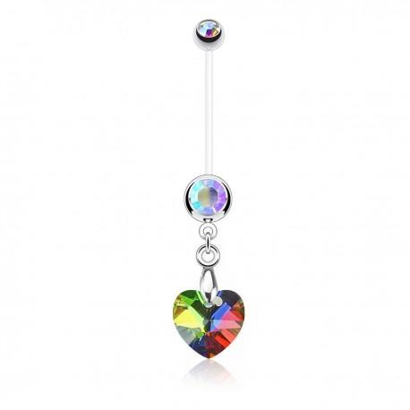 Piercing Nombril Grossesse Flexible pendentif coeur de Cristal irisé