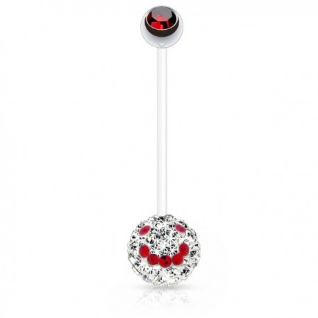 Piercing Nombril Grossesse Flexible boule de Cristaux blancs et smiley rouge