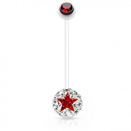 Piercing Nombril Grossesse Flexible boule de Cristaux blancs et étoile rouge