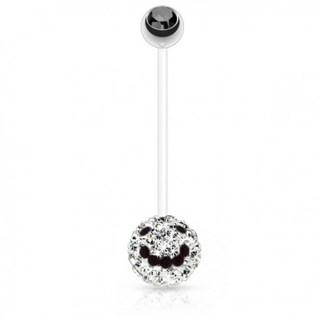 Piercing Nombril Grossesse Flexible boule de Cristaux blancs et smiley noir