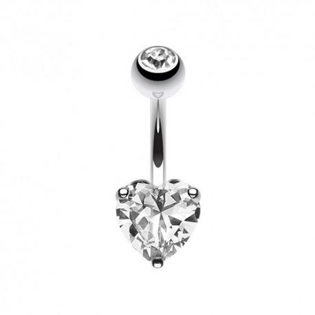 Piercing Nombril Acier coeur de Cristal blanc