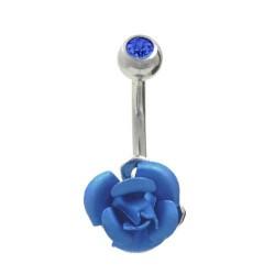 Piercing Nombril Acier rose bleue et cristal bleu
