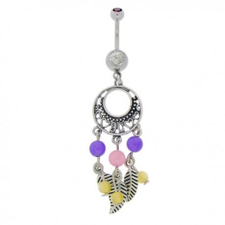 Piercing Nombril Pendentif Acier attrape-rêves et Cristal violet