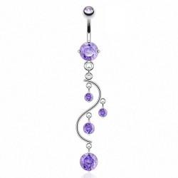 Piercing Nombril Pendentif violet cascade