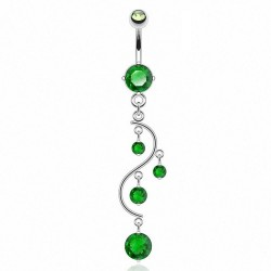 Piercing Nombril Pendentif vert cascade