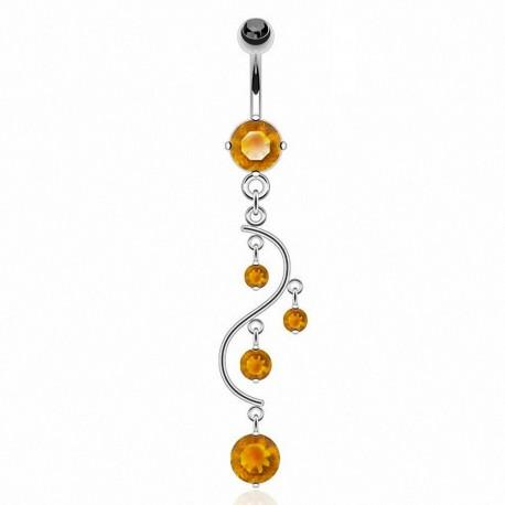 Piercing Nombril Pendentif orange cascade