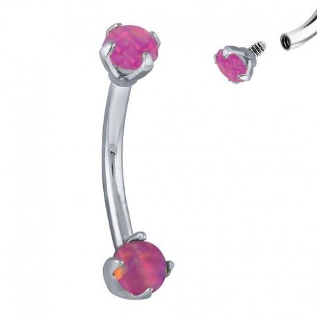 Piercing Arcade Opale rose griffée