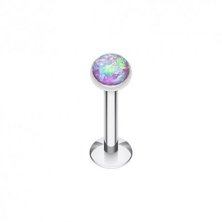 Piercing Labret Acier et Opale violet irisé