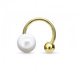 Bague d'oreille dorée Perle