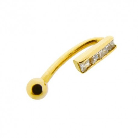 Piercing Arcade Or 18K barre de Cristaux
