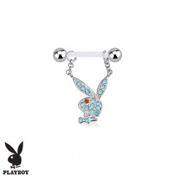 Piercing Téton Grossesse Flexible Playboy® Lapin Cristaux bleus