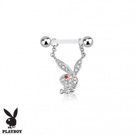 Piercing Téton Grossesse Flexible Playboy® Lapin Cristaux blancs