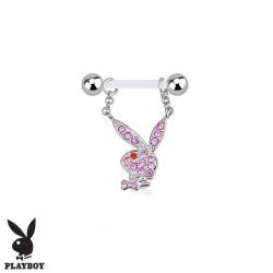 Piercing Téton Grossesse Flexible Playboy® Lapin Cristaux roses