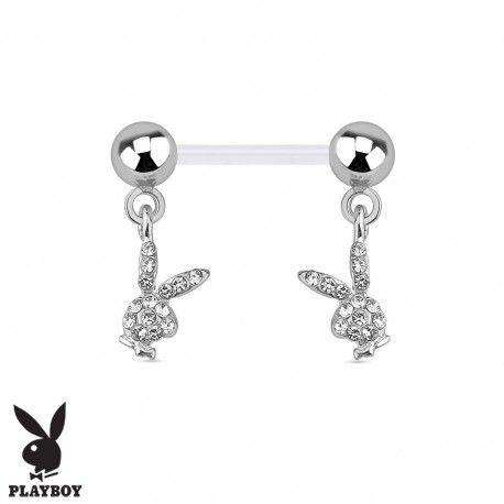 Piercing Téton Grossesse Flexible Playboy® double Lapins Cristaux blancs