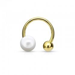Bague d'oreille dorée petite Perle