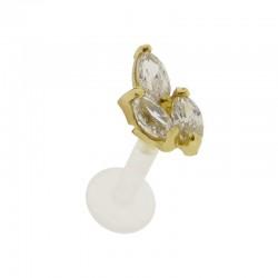 Piercing Labret Or 18K feuille de Cristal