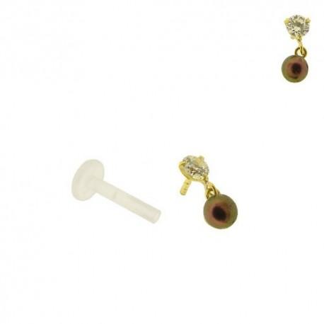 Piercing Labret Or 18K Cristal et Perle