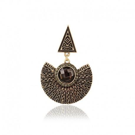 Boucle d'oreille pendante Aztèque Cristaux anthracite