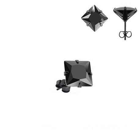 Boucle d'Oreille Blackline Strass carré noir 5mm.