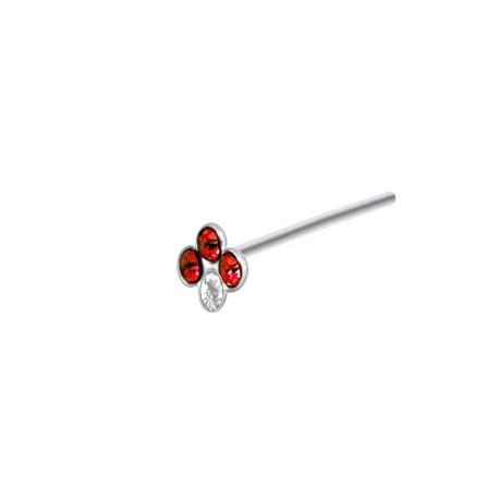 Piercing Nez Argent couronne Pierres rouges