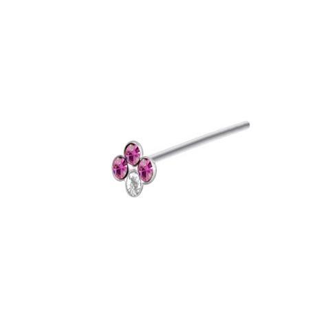 Piercing Nez Argent couronne Pierres roses