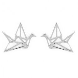 Paire de boucles d'oreilles grue origami Argentée