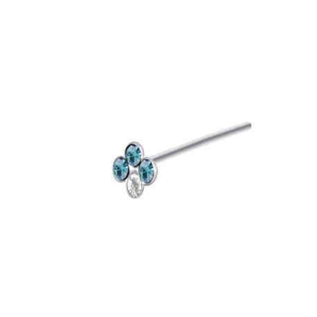 Piercing Nez Argent couronne Pierres bleues