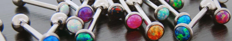 Piercing de langue avec opale